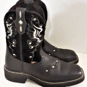 Justin Black Winged Studded Western Cowgirl Boots